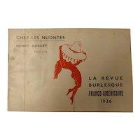 """La Revue Burlesque  Program """"Chez Les Nudistes"""" - Paris 1936"""