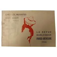 "La Revue Burlesque  Program ""Chez Les Nudistes"" - Paris 1936"