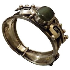 Mexican Aztec Style .925 Silver & Jade Bracelet
