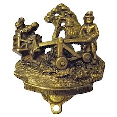 "Brass Souvenir Internal Door Knocker - The Ducking Stool"" 1920"