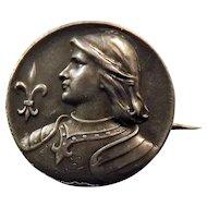 Joan Of Arc  - .800 French Silver Brooch