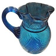 Victorian Hand Blown Glass Water Jug -Stunning in Luminescent Like Blue