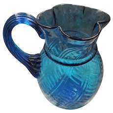 Victorian Hand Blown Glass Water Jug -Stunning in Luminescent Like Blue