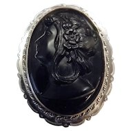 Antique Lava Rock Cameo Set in Sterling Silver - Brooch / Pendant