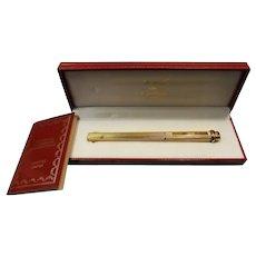 """Cartier Vendome """" Godron"""" Gold Plated Ball Pen Circa 1995"""