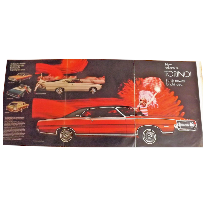 1968 Ford Torino - Original Oversize Double Page Advertisement -Saturday  Evening Post Magazine