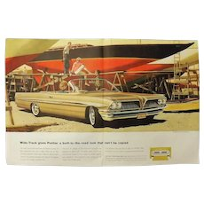1961 PONTIAC Bonneville Coupe - Original Double Page Advertisement -Saturday Evening Post Magazine