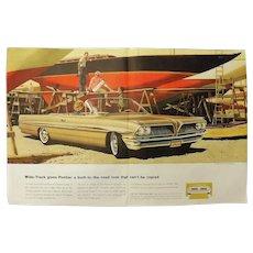 1961 PONTIAC Bonneville Coupe - Original Double Page Advertisement -Saturday Evening Post Magazine