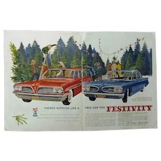1961 Pontiac Safari Wagon & Tempest Sedan..... Original DPS Advertisement -Saturday Evening Post
