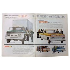 1961 CHEVY TRUCKS - Original Double Page Advertisement Saturday Evening Post