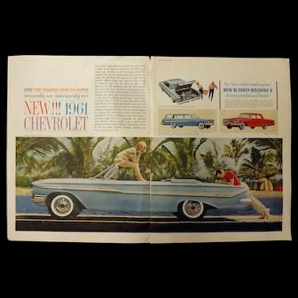 1961 NEW Chevrolet Range - Original Advertisement Saturday Evening Post