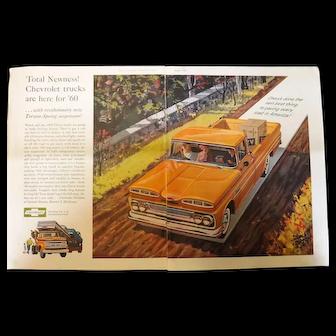 1960 CHEVROLET Trucks - Original Advertisement Saturday Evening Post
