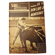 "Spanish 1944 Bullfighting Magazine ""Sol Y Sombra"""