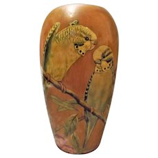 "Art Deco Hand Painted ""Budgies"" Wooden Vase - Late 1920's"