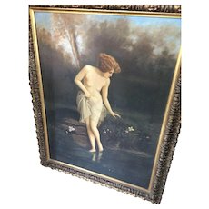 Gorgeous Art Nouveau Nude - Oil on Canvas Circa 1890 - 1910