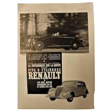 ORIGINAL RENAULT Advert  From L ' Illustration French Magazine December 1937