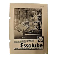 "ORIGINAL ""ESSOLUBE""  Advert From  L ' Illustration French Magazine  June 1937"