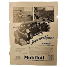 "ORIGINAL ""MOBILOIL"" Advert From L ' Illustration French Magazine July 1937"