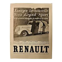 "ORIGINAL ""RENAULT Grand Sport"" Advert  From L ' Illustration French Magazine  March 1937"
