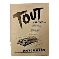 "ORIGINAL ""HOTCHKISS"" Advert From L ' Illustration French Magazine January 1938"