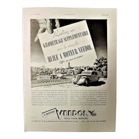 "ORIGINAL ""VEEDOL"" Advert From  L ' Illustration French Magazine  April 1938"