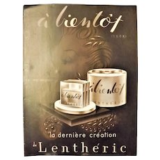 "ORIGINAL ""LENTHERIC"" Advert From  L ' Illustration French Magazine March 1940"