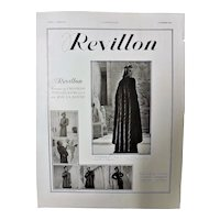 "ORIGINAL  ART DECO ""REVILLON"" Advert From  L ' Illustration French Magazine  October 1937"