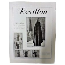 "ORIGINAL  ART DECO ""REVILLON"" Advert From  L ' Illustration French Magazine  October 1937"