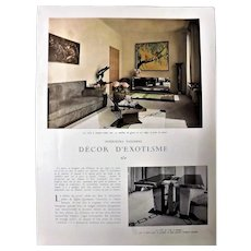 Decor D' Exotisme - Art Deco 4 Page Feature - L ' Illustration 1937