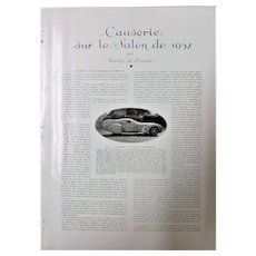 French Car Models For 1937 - 28 Page ART DECO Feature L'Illustration Magazine