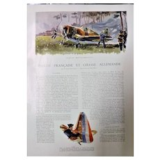 "ORIGINAL 4 page Feature ""Aerial Combat"" From L ' Illustration French Magazine 1939"
