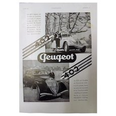 "ORIGINAL ""PEUGEOT 402"" Advert From L ' Illustration French Magazine  June 1938"