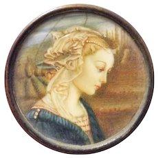 Italian 19th Century Miniature After The 'Vergine Delle Rocce'  by Filippino Lipi