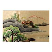 Japanese Traditional Scene in Silk Needlework - Circa 1910 - 1920