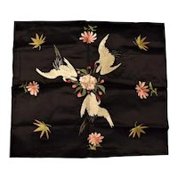 "Japanese Silk Needlework ""CRANES"" - Circa 1910-1920"