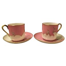 Superb Japanese Art Deco Pair of Demi-Tasse  CRANE Cups & Saucers
