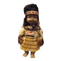 New Zealand Maori Wahine Doll with Pepi on back