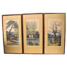 "Toshi Yoshida Triptych of Wood Block Prints ""The Friendly Garden"""