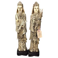 A Tall Pair of Javanese Carved Bone Figurines
