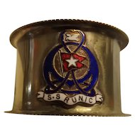White Star Liner S.S. RUNIC Souvenir Napkin Ring