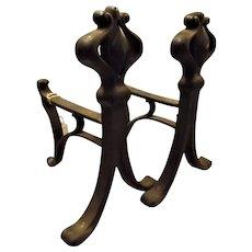 Victorian Art Nouveau Cast Iron Andirons - Circa 1890 - 1900