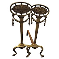 "A Pair of Victorian Rococo ""Chippendale Revival"" Andirons Circa 1880"