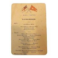 White Star Line R.M.S. Gothic Luncheon Menu 1905