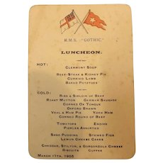 White Star Line R.M.S. Gothic Luncheon Menu 1905