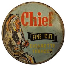 CHIEF Brand Cigarette Tobacco  Tin - New Zealand Circa 1920-40