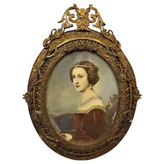 Victorian Miniature Oil Painting on Copper of  'Cornelia Vetterlein' By  Joseph Stieler