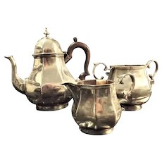 1919 Very Heavy Sterling Silver Tea Set With Early Art Deco Influence