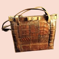1940's Crocodile Skin Handbag