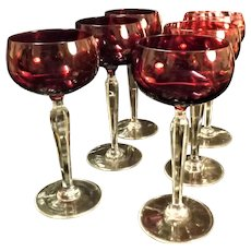 Bohemian Ruby Red Hock Wine Glasses - Six