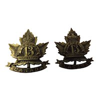 Canada World War One Army Collar Badges Pair -13th Overseas Mounted Rifles